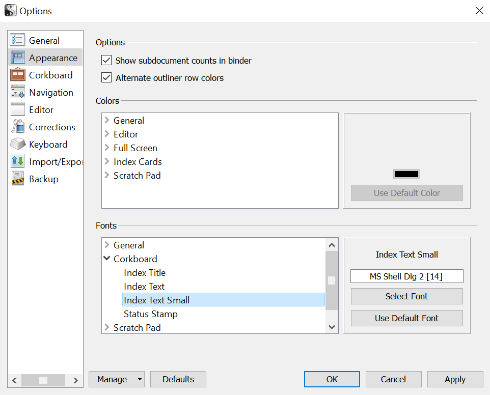 Scrivener Options screen, showing Appearance tab.