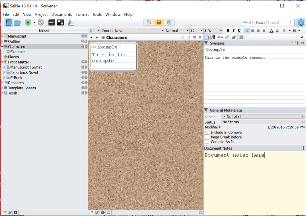 The Scrivener screen, showing index cards on the Corkboard and in the Inspector.