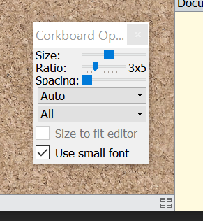 Scrivener Corkboard Options menu
