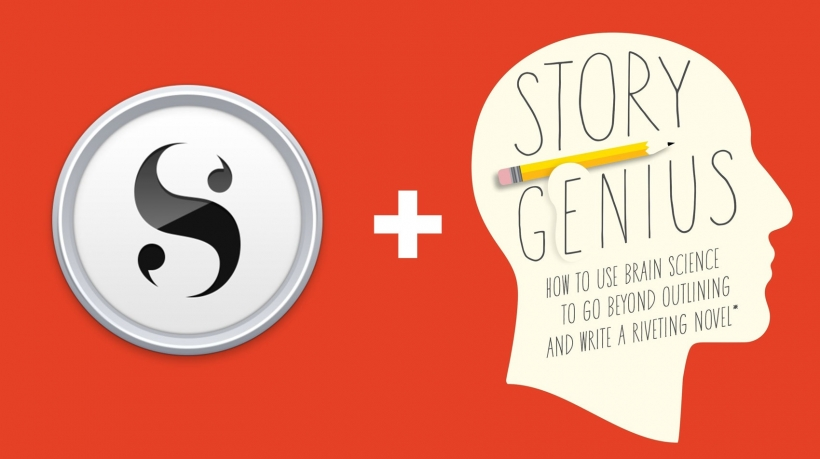 Banner: The Scrivener logo and Story Genius cover with a plus sign