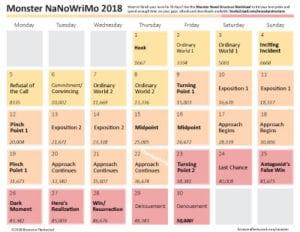 Preview of the Monster NaNo Calendar 2018