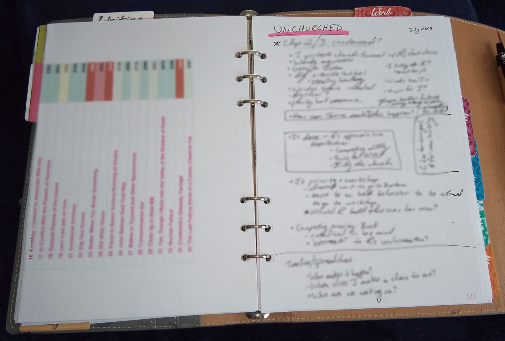 Binder planner, working notes
