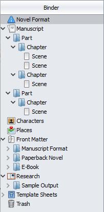 Screenshot of a Scrivener binder