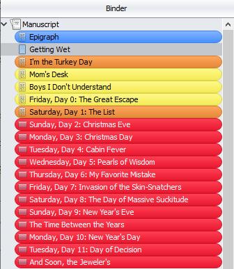Screenshot of a Scrivener binder with Label colors on