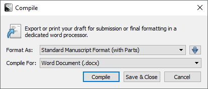 Screenshot of the simple Compile dialogue in Scrivener