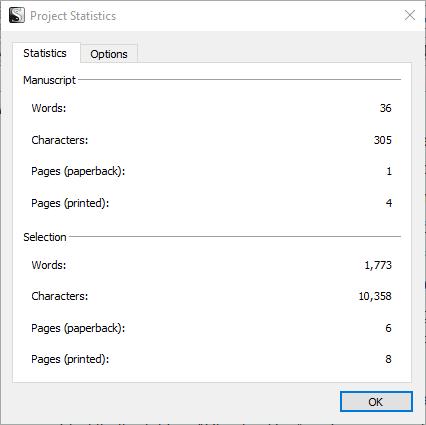 Screenshot of the Scrivener Project Statistics window