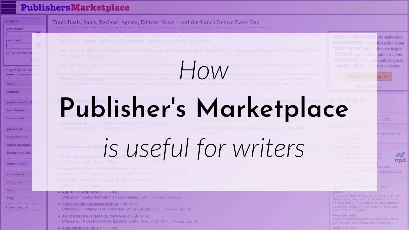 Banner: How Publisher's Marketplace is useful for writers
