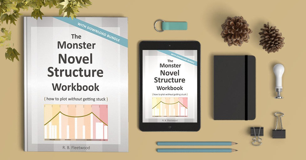 Mockups of The Monster Novel Structure Workbook