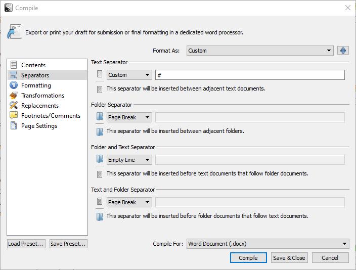 Screenshot of the Separators tab in Compile