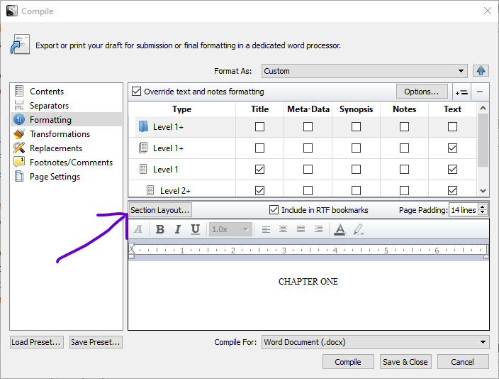 Screenshot of Scrivener Formatting dialog